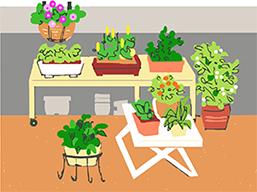 バルコニーの手すりに鉢植えなどを置くと危険です